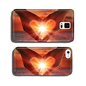 sunset in heart hands cell phone cover case Samsung S5