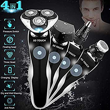Electric Razor Shaver for Men, 4 in 1 Dry Wet Waterproof men s Rotary Shaver Portable Face Shaver Travel Rechargeable Beard Trimmer USB Cordless Nose Trimmer Facial Cleaning Brush for Dad Black