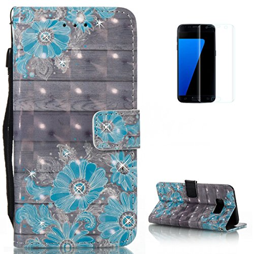 KaseHom Samsung Galaxy S8 Leather Case + [Free Black Stylus Pen],Blue Daisy Painted Pattern Shiny Glitter Diamond Flip Magnetic Wallet Holster with [Card Slots] Shockproof Protective ()