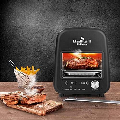 Molino – Haute puissance de chauffage avec puissance électrique de 1800 W – Jusqu'à 850 °C – Beef Grill – Barbecue électrique – In/extérieur – Pour des steaks parfaits.
