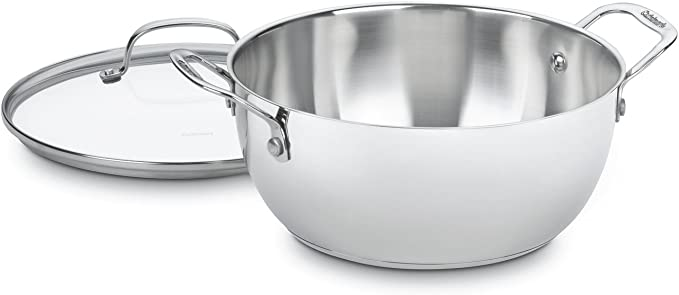 Cuisinart  5.5夸脱带盖平底锅 ,高端不锈钢制作