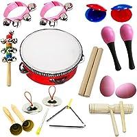 Caliente Nuevo! Lebbeen 11pcs Novedad Niños Rollo Tambor Instrumentos musicales Banda Kit Niños Juguete Conjunto de regalo para bebé