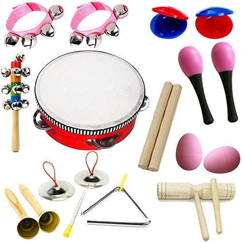 Hot New! Lebbeen 11pcs Novelty Kids Roll Drum Musical Instruments Band Kit Children Toy Baby Gift Set