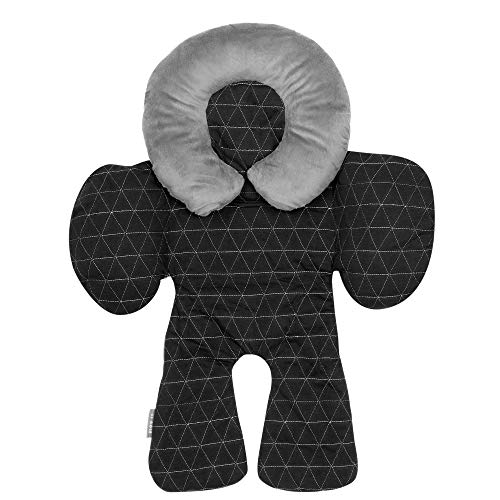 (JJ Cole - Reversible Body Support Pillow, For your Infant's Comfort in the Car Seat and Stroller, Designed to Adjust for Age and Season, Black Tri Stitch, Birth and Up)