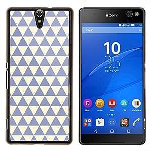 Patrón Polígono Limpio Azul Beige- Metal de aluminio y de plástico duro Caja del teléfono - Negro - Xperia C5 E5553 E5506 / C5 Ultra