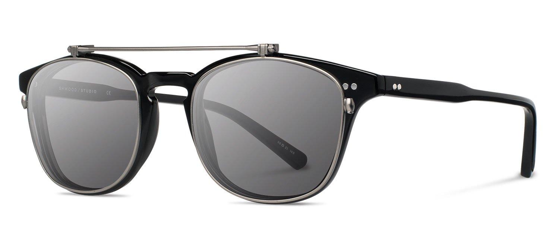 Shwood- Kennedy Flip Acetate, Sustainability Meets Style, Black, Grey Polarized Lenses
