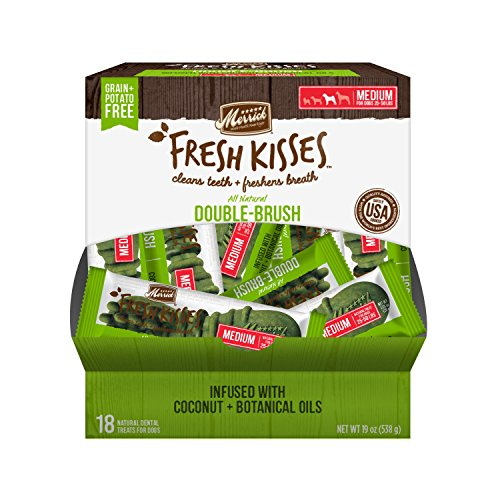 Merrick Fresh Kisses Coconut Oil + Botanicals Medium Brush Dental Dog Treat  - Single Serve Box (18 Ct)