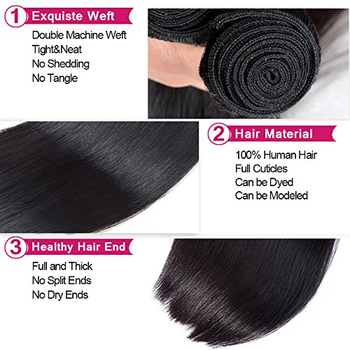 Amazon.com : Lin Hair 3 Bundles 300 Grams Brazilian Straight ...