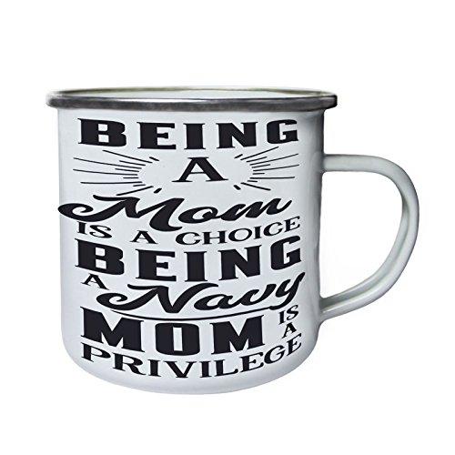 Être une maman est un choix étant maman marine Rétro, étain, émail tasse 10oz/280ml bb227e