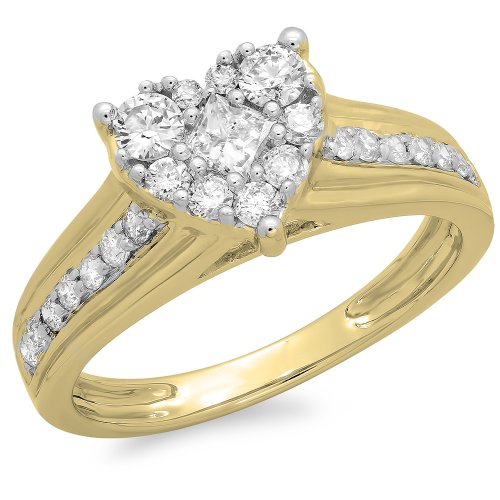 0.70 Carat (ctw) 14K Yellow Gold Princess & Round Diamond Ladies Bridal Heart Shaped Promise Engagement Ring 3/4 CT (Size 7) by DazzlingRock Collection