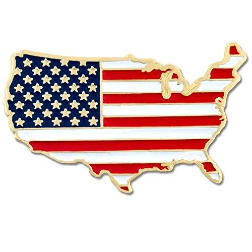 PinMart United States of America Shape Country American Flag Enamel Lapel Pin
