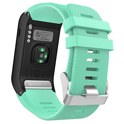 MoKo Garmin Vivoactive HR Watch Band, Soft Silicone Replacement Watch Band ONLY for Garmin Vivoactive HR Sports GPS Smart Watch with Adapter Tools - Mint Green