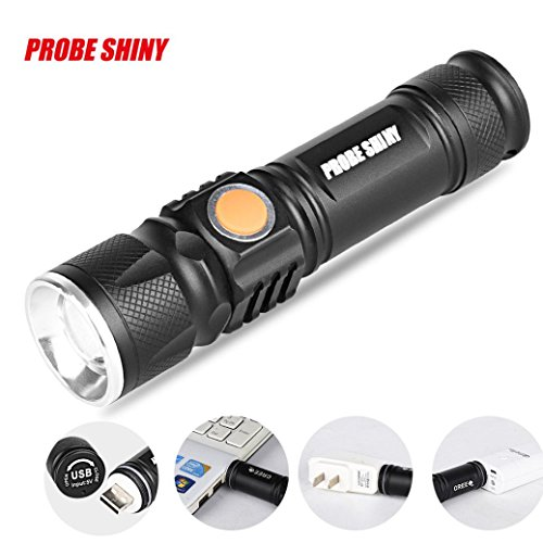 PROBE SHINY USB LED Rechargeable Flashlight ,Tuscom Waterproof Adjustable LED Zoom 3000LM MINI Portable Flashlight (Black)