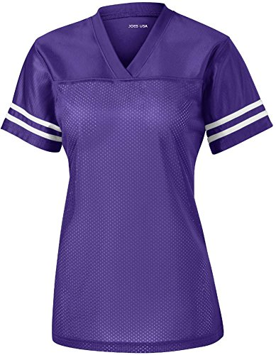 Joe's USA Ladies Replica Athletic Football Jersey-Purple-XS