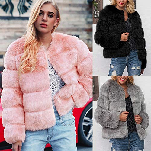 Solid Warm Gradient Parka Faux Coat Womens Outerwear Jacket Pink Sexy Winter Fur OYSOHE Ladies Clearance 8vZ44q
