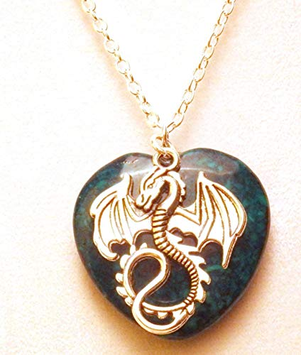 Dragon and Green Heart Stone Necklace 453 Green