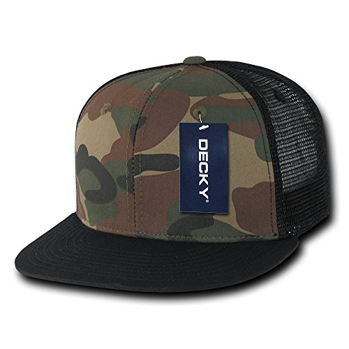 DECKY Cotton Flat Bill Trucker Cap, (Camo Trucker Hat Cap)