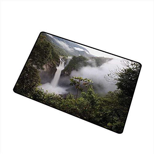 BeckyWCarr Rainforest Inlet Outdoor Door mat San Rafael Falls Ecuador Misty Natural Waterfall in Lush Jungle Landmark Scene Catch dust Snow and mud W19.7 x L31.5 Inch,Green Grey