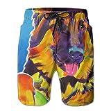 Hoodieu German Shepherd Dog Elastic Mens Boardshorts Swim Trunks Men Tropical Basketball Workout Board Shorts Solid Swim Trunks