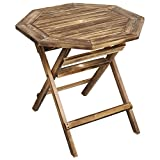 Weathered Gray Wood Folding Octagon Shape 30-Inch Patio Bistro Table with Umbrella Hole