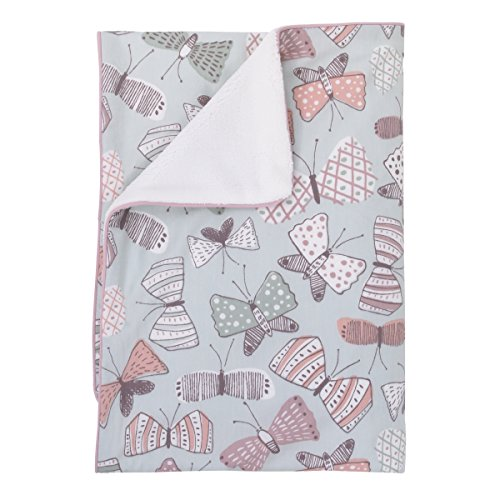 (Dwell Studio Arden Butterfly Print Double Sided Cotton/Velour Blanket,)