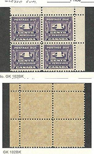 Canada, Postage Stamp, J13 Mint NH Block Glazed Gum, 1933 Postage Due