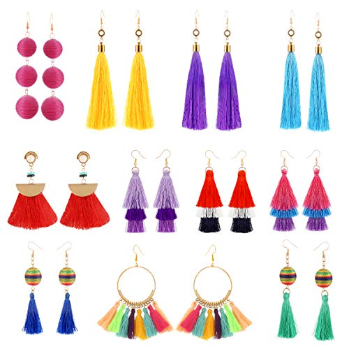 11 Pairs Colorful Long Layered Thread Ball Dangle Earrings Yellow Red Turquoise Tassel Hoop Fringe Bohemian Tiered Tassel Drop Earrings Soriee Stud Earrings Gift Set for Girls Women ()