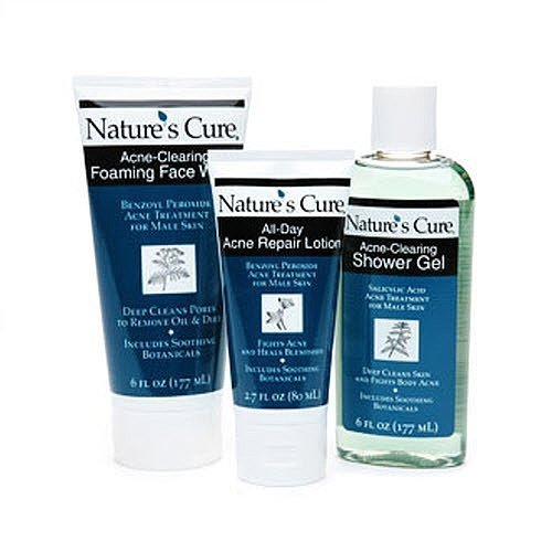NATURE'S CURE FACE AND BODY ACNE TREATMENT AND SHOWER KIT FOR MEN (3 PIECE KIT) by Nature's Cure