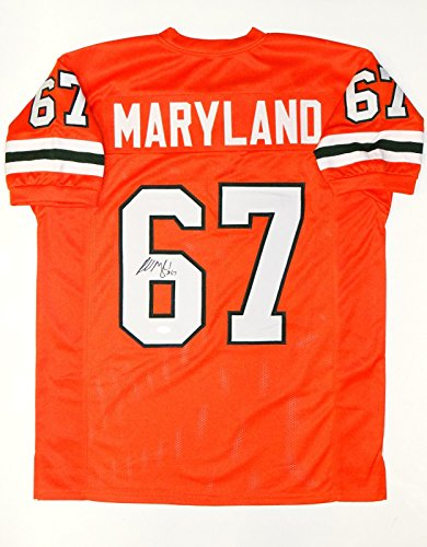 Russell Maryland Autographed Orange College Style Jersey- JSA W Auth