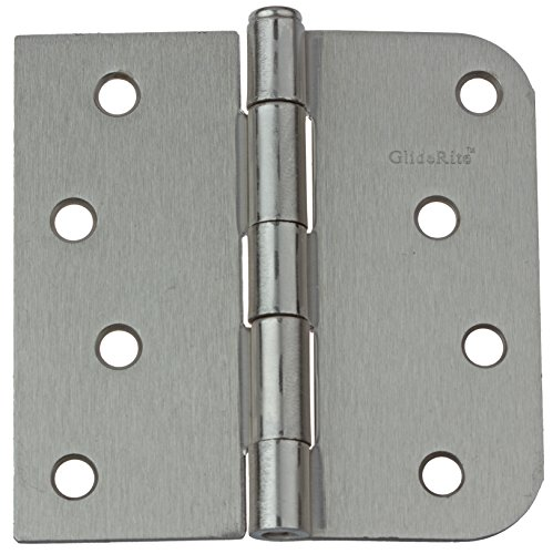 (GlideRite Hardware 4000-SQ-58-SN-21 4 inch Steel Door Hinges 0.625 Radius and Square Corners Satin Nickel Finish 21 Pack, 4