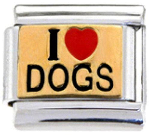 Stylysh Charms Dog Lover I Love Dogs Enamel Italian 9mm Link DG001 ()