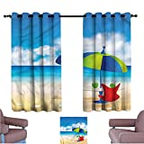 Mannwarehouse Beach Durable Curtain Relaxing Scene Umbrella for Living, Dining, Bedroom (Pair) 72' Wx45 L