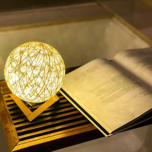 Lintat Rattan Ball Dimmable Bedside Table Lamp with Solid Wood Base, Nightstand Lamp with USB Charger and LED String Lights, Good Dream Lamp Cream