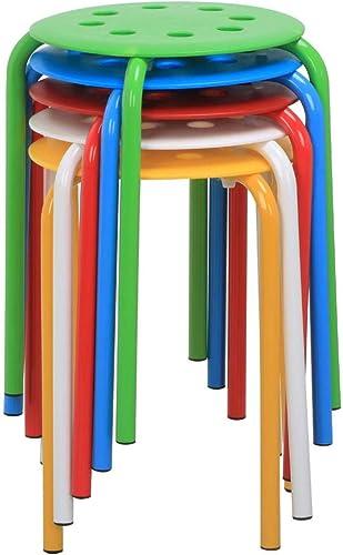 YAHEETECH 17.3'' Set of 5 Indoor Outdoor Industrial Stackable Stools Bar Chairs