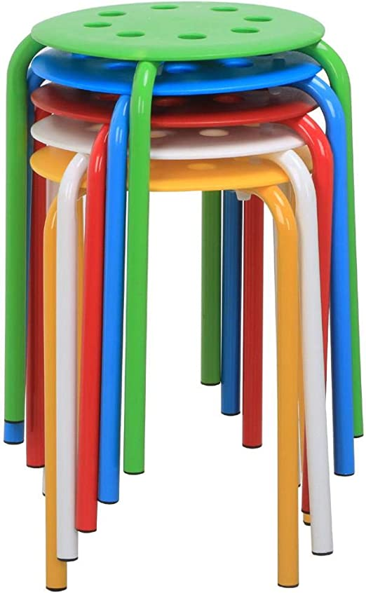 Set of 5 Plastic Stack Stoolsfor Kids Classroom Seating for Home Kitchen Garden