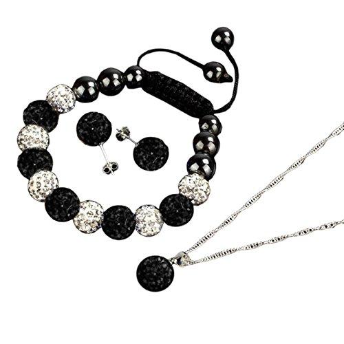 Fullkang Women Two-tone Crystal Ball Shamballa Bracelet Earrings Necklace Set Jewelry (black)