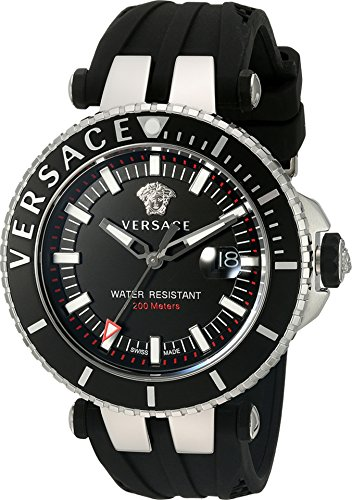 Versace Men's 'V-Race' Swiss Quartz Stainless Steel and Silicone Casual Watch, Color:Black (Model: VAK010016)