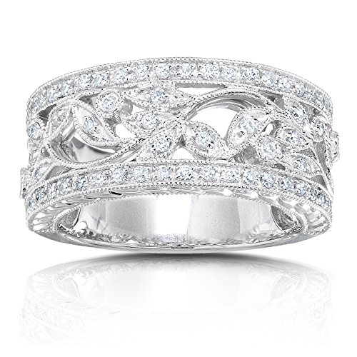 Vintage Style Diamond Fashion Floral Band 1/4 carat (ctw) in 14K White Gold, Size 9