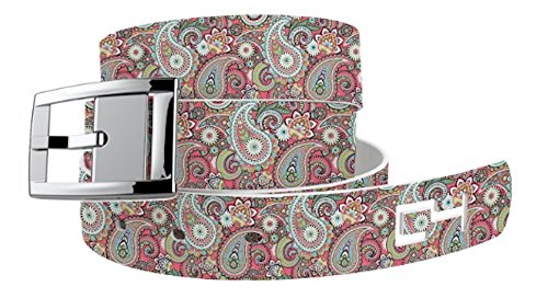 C4 Belts C4 Paisley Magenta Classic Belt with Silver Buckle - Fashion Belt - Waist Belt for Women and Men -