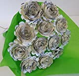 Scalloped Sheet Music Paper Flowers for Centerpiece, Musical Theme Party Decorations, Home Decor Floral Arrangement, One Dozen 1.5'' Roses with Stems, Music Class Teacher Gift