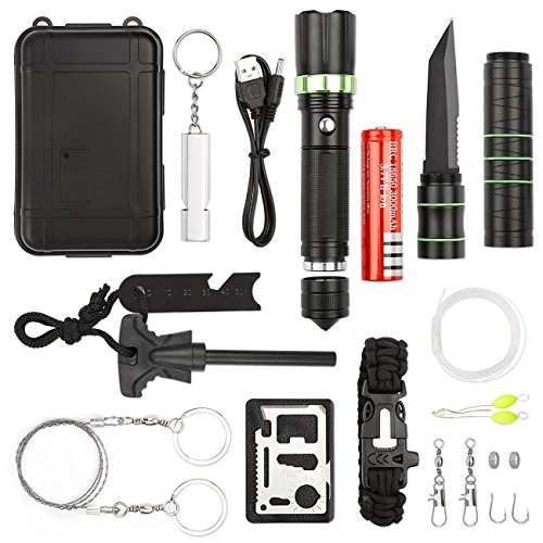 17 in 1 Tactical Survival Kit Professional Outdoor Survival Gear kits for Hiking Biking Camping Adventures Hunting By ANGAZURE