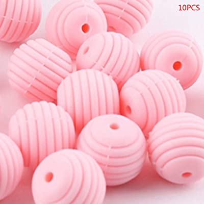 Ladaidra 10 Pcs/Pack Silicone Balls Baby Teething Spiral Round Beads DIY Necklace Infants Teether Pacifier Chain Accessories: Toys & Games