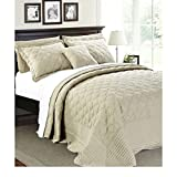4 Piece 110 X 120 Natural Cream Oversized Bedspread Queen To The Floor Set, Extra Long Quilt Bedding Drops Over Edge Bed Hangs Side Frame Wide Large French Country Classic, Quatrefoil Cotton Polyester