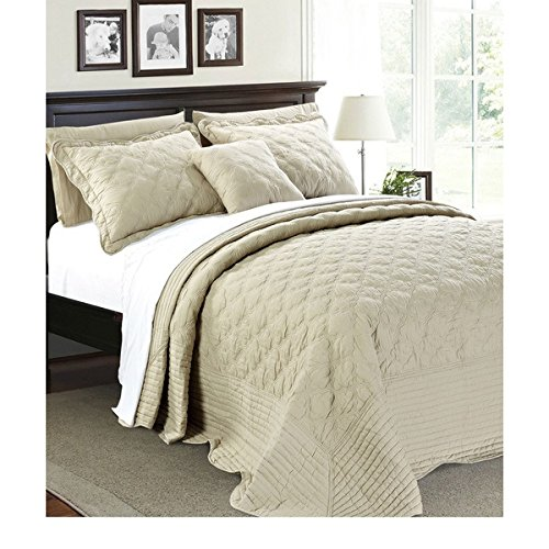 4 Piece 110 X 120 Natural Cream Oversized Bedspread Queen To The Floor Set, Extra Long Quilt Bedding Drops Over Edge Bed Hangs Side Frame Wide Large French Country Classic, Quatrefoil Cotton Polyester by D&H