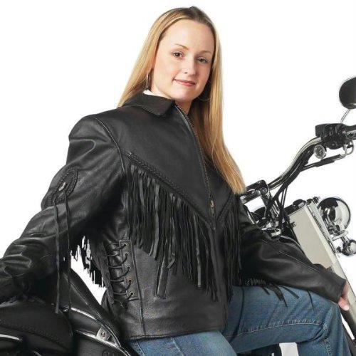 Diamond Plate Solid Genuine Leather Ladies Motorcycle Jacket has conchos fringe a shirt co GFLADMJ2X