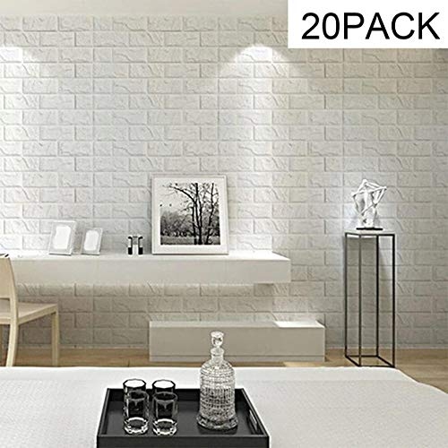 (Masione 116.26sq.ft 3D Peel and Stick Wallpaper Real Bricks Effect Wall Panels for Interior TV Wall Decor Sofa Background Wall Decor White Brick Wallpaper Pack of 20)