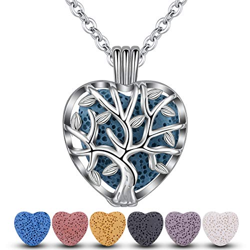 INFUSEU Heart Lava Stone Essential Oil Diffuser Necklace Tree of Life/Love Aromatherapy Jewelry, 7 Multicolor Lava Rocks, 24