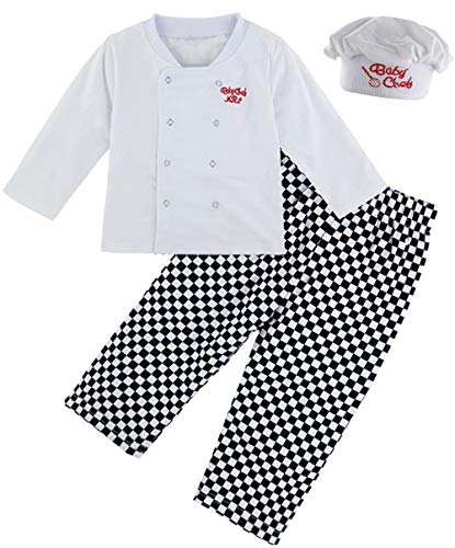 COSLAND Kids Boys' Cooking Costume Long Sleeve Chef Outfit Sets (Chef, 3T)]()