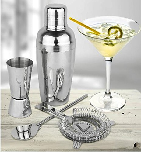 Cocktail Maker Set 10 Pce Home Cocktail Making Kit with Manhattan Cocktail Shaker Bar Measures, Twisted Bar Spoon, Muddler, Mixer, Bottle Pourer, Ice Strainer & Ice Tongs by The Wolf Moon® (Image #8)
