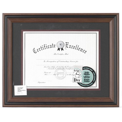 Dax N15786ST - Desk/Wall Plastic Document Frame, Insert size 11x14 and 8.5x11 with mat, Rosewood/Black